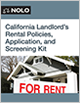 California Landlord's Rental Policies, Application and Screening Kit